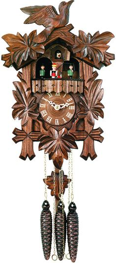 One Day Musical Cuckoo Clock with Dancers, Five Hand-carved Maple Leaves, and One Bird - 14 Inches Tall