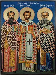 High quality hand-painted Orthodox icon of Three Holy Hierarchs. BlessedMart offers Religious icons in old Byzantine, Greek, Russian and Catholic style. Saint Gregory, John Chrysostom, Christian Paintings, Paint Icon, St Basil's, Byzantine Icons, Day Book, Religious Icons, Russian Fashion