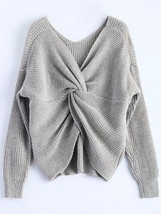 Wipalo 4 colors V Neck Twisted Back Sweater Women Jumpers Autumn Pullovers Casual Tops Long Sleeve Knitted Sweaters pull femme Grey Sweater, Long Sleeve Sweater, Long Sleeve Tops, Batwing Sleeve, Sweater Jacket, Jumpers For Women, Sweaters For Women, Tee T Shirt, Sweater Weather