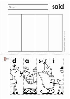 Christmas Picture Scrambles. A fun way to get some scissor, phonics and sight word practice during the festive season!