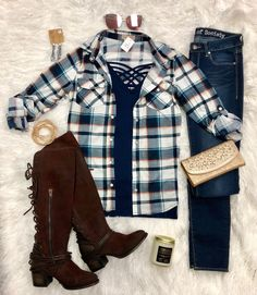 Penny Plaid Snap Flannel Top: Navy/Teal from privityboutique