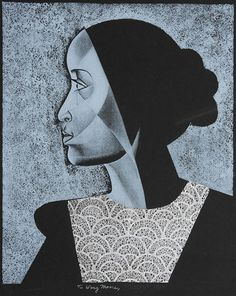 "ELIZABETH CATLETT, ""Virginia,"" 1984 (ithograph and collage), numbered VII/X A/P. Courtesy Weschler's 