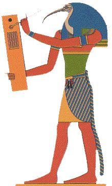 THOT dios egipcio de la sabiduria la musica y la escritura representado como un hombre con cabeza de ibis