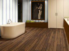 Badkamer met houten vloer - Quick-Step Laminaat Lagune - vloeren ideeën | UW-vloer.nl #scheepsdekvloer #laminaatvloer