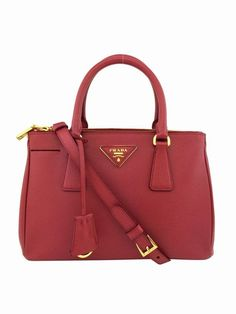 Prada Red Saffiano Lux Leather Double-Zip Small Tote Bag