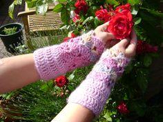 Crochet Elegant Mittens Cuffs Handwarmers in rose door AnnemiekeA, $30.00