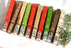 10 CHRISTMAS CLOTHESPINS hand painted and glitter by SugarAndPaint, $27.50