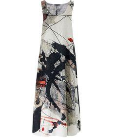 Crea Concept Marble Linen Marble Print Dress   Jules B