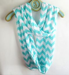 Infinite tiffany blue Chevron Scarf soft -Jersey knit. $18.50, via Etsy.