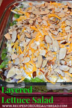 Layered Lettuce Salad - Who can pass this up!  It is so YUMMY! http://recipesforourdailybread.com/2012/12/01/layered-lettuce-salad-recipe/ #salad #side dish