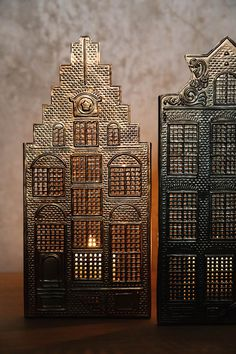 Metal house candle holders available in three styles. Light weight, pressed metal candle holders with a burnished, dark brass or copper finish. Home Candles, Candle Lanterns, Pillar Candles, House Candle Holder, Metal Candle Holders, Bed Company, Pressed Metal, Christmas Bedroom, T Lights
