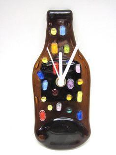 Relógio de Vidro p/ parede Colorido Ponteiros brancos  PRODUTO SUSTENTÁVEL R$35,00
