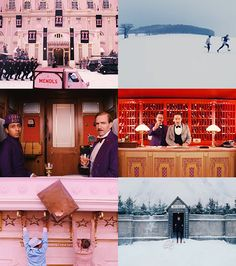 Screenshots from The Grand Budapest Hotel.