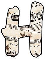 ArtbyJean - Vintage Sheet Music: Alphabet Set - Vintage Sheet Music Clipart Prints for cards, decoupage, scrapbooking.