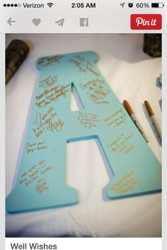 Bday party idea. Signatures on a letter to hang