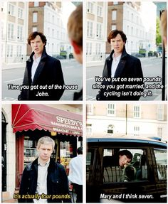 In which Sherlock and Mary chat on the phone about how much weight John has gained.