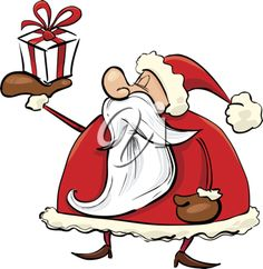 Royalty Free Clipart Image of Santa With a Gift