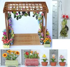 miniature arbor and flower planters