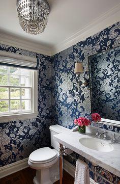 Powder Room Wallpaper. Powder Room with Navy Wallpaper. #Navy #Wallpaper #PowderRoom Martha O'Hara Interiors.