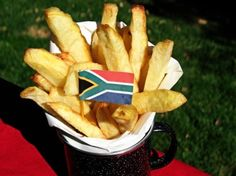"""South African """"Slap"""" Chips (French Fries) - """"Slap"""" (as in """"cup"""") in Afrikaans… South African Dishes, South African Recipes, Chips Recipe, Tasty Kitchen, Side Recipes, Oven Recipes, Cooking Recipes, Potato Dishes, Recipe Community"""