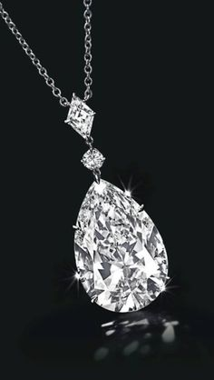 Pear-Cut Diamond pendant, 24.53 Carat, D Color, Type IIa | See the Rest of the Outfit and Description on this board.  -  Gabrielle