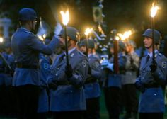 The conductor of the German army band from Ulm directs his charges during a Grosser Zapfenstreich, or Grand Tattoo, Thursday, Aug. 10, 2017 at Biebrich Palace in Wiesbaden, Germany. (DAN STOUTAMIRE/STARS AND STRIPES)