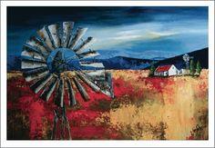 Acrylic landscape with Windmill (windpomp)