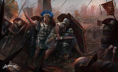 """Римские легионеры применяют построение """"мурус"""" во время битвы. I в. н.э. Художник Paweł Kaczmarczyk."""