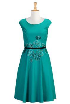 OWN IT - Eshakti Women's Embellished Florals Poplin Dress | Tagchat