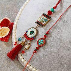 Mother of Pearls Rakhi Lumba Set Beaded Jewelry, Handmade Jewelry, Jewellery, Denim Jacket Embroidery, Handmade Rakhi Designs, Rakhi Making, Rakhi Online, Couple Mugs, Rakhi Gifts