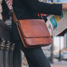 Introducing The 1846 Leather Messenger Bag. Hand made in the U.S.A with 100% American Leather and features bonded polyester thread for durability and is hand dressed and polished for smooth edges. Adj