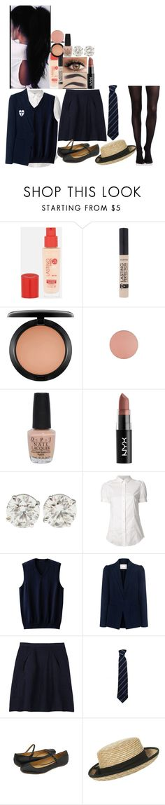 """Original uniform / ST.Trinians // 2007"" by fuckmeirwin ❤ liked on Polyvore featuring Rimmel, MAC Cosmetics, OPI, NYX, RED Valentino, Uniqlo, Rebecca Taylor, kew.159, Frye and SPANX"