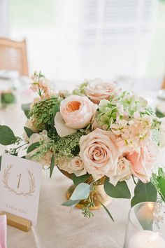 Blush + greenery wedding centerpiece idea with roses and peonies {Floral and Blo. Blush + greenery wedding centerpiece idea with roses and peonies {Floral and Bloom Designs}. Blush Centerpiece, Wedding Table Centerpieces, Floral Centerpieces, Floral Arrangements, Wedding Decorations, Centerpiece Ideas, Centrepieces, Round Table Decor Wedding, Table Arrangements