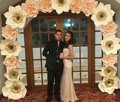 Paper flowers backdrop wedding