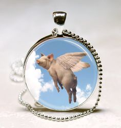 When Pigs Fly... Pig Jewelry Pig Necklace Pig by vintagewithflair, $8.95