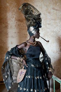 "du-style-sinon-rien: Fabrice Monteiro: Homage to the ""Signares""( Mestizo French-African women of the island of Gorée in French Senegal during the and centuries).so hot! Afro Punk, African Beauty, African Women, African Fashion, Ankara Fashion, African Style, Queer Fashion, Fashion Art, Style Fashion"