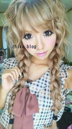 cute Japanese cut in braids Gyaru Hair, Gyaru Makeup, Hair Makeup, Kawaii Hairstyles, Cute Hairstyles, Hairdos, Mode Gyaru, Gyaru Fashion, Lolita