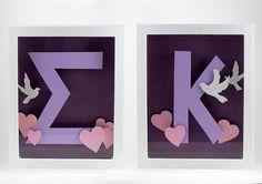 Sigma Kappa ΣK 3D Shadowbox Framed Letters by jamiebhannigan