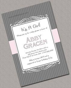 DIY Printable Custom Girl Baby Shower Invitation