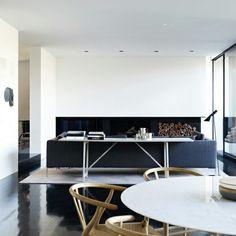 inspiration: aligned tv - fireplace - wood storage