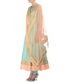 Embellished Mint Green Anarkali Suit with Peach Dupatta - New Arrivals