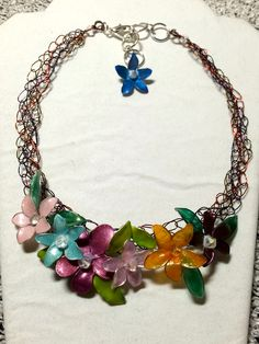 crochet necklace with colour wire and wire flowers with nail polish