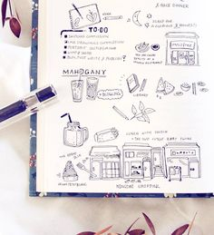 A bunch of travel diary doodles in my bullet journal: Seoul Weekend Edition I never seem to find time for actual travel sketches on these short trips, but instead combine diary entries and to-do lists with little doodle art! Lots of food this time... My full travel diary is up on my blog: www.evydraws.com #evydraws #bujoinspire #seoultrip