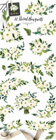 Watercolor White Flower Clip Art by Graphic Box on @creativemarket