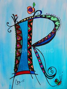 'R' 4x6 print on high quality paper, embellished with glitter, matted & framed to 5x7, ready to hang or display on shelf: $35