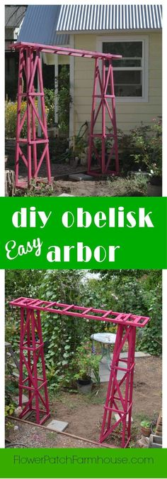 Build yourself this beautiful garden arbor. Easy and inexpensive, you can have one done in a day. Paint it any color you like! FlowerPatchFarmhouse.com by gena