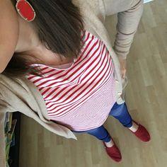 Tan boyfriend cardigan, red and white striped shirt, gap jeggings, Kendra Scott earrings, red Toms
