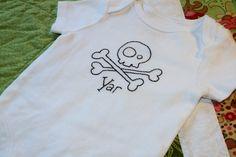Yar pirate skull embroidered onesie