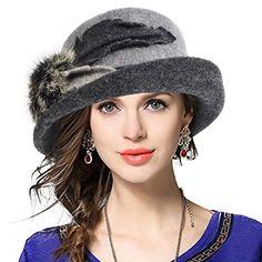 0eda71c3412bc4 Lady Wool Dress Church Cloche Hat Leaf Bucket Bowler Hats... https:/