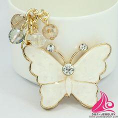 Novelty Crystal Butterfly Fashion Rhinestone Keyring Pendant Women Handbag Charm Alloy Keychain Manufacturers